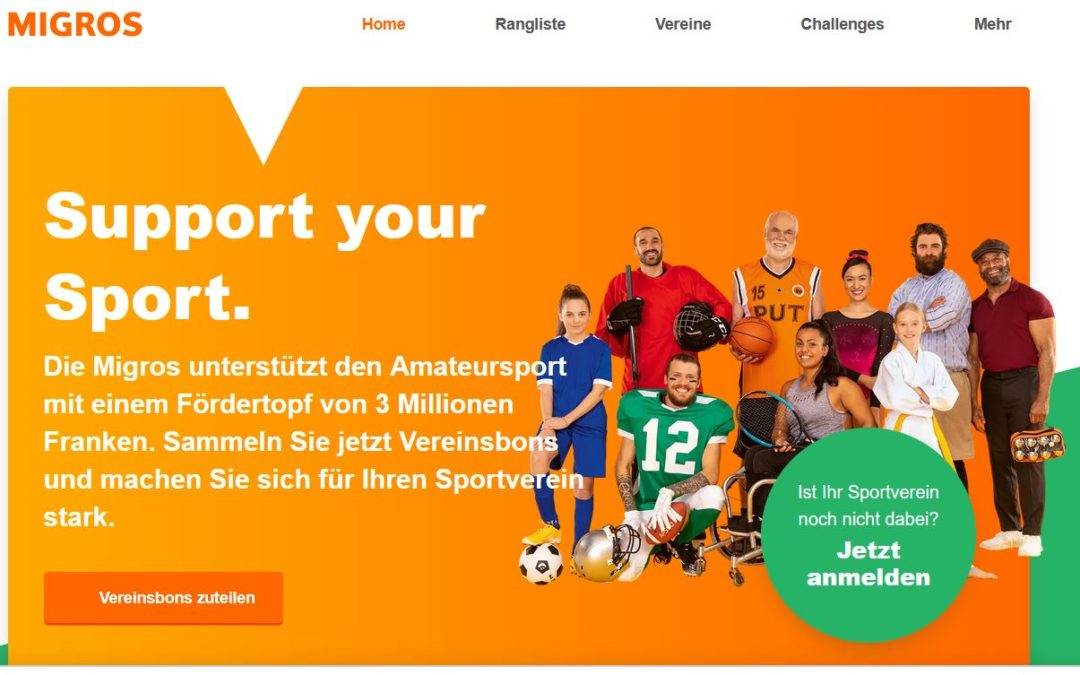 """Migros Aktion """"support your sport"""""""
